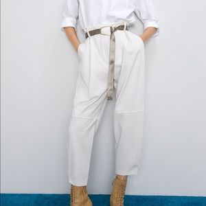 NWT Zara pleated pants with belt size large